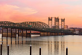 Interstate 5 Bridge over Columbia River between Oregon and Washington State USA America