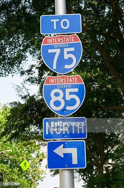 Interstate 75/85 sign in Atlanta, Georgia