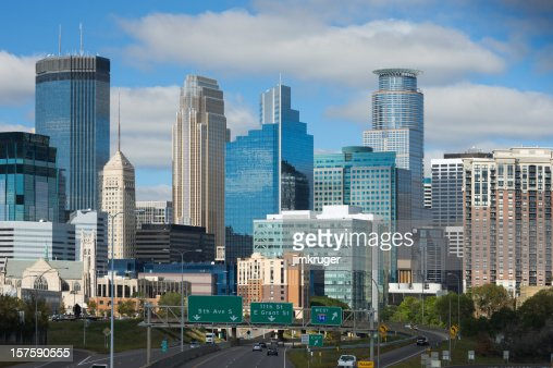 Interstate aerial view of Minneapolis, Minnesota