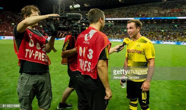 Interview with Mario Goetze of Borussia Dortmund after the preseason friendly match between Urawa Red Diamonds and Borussia Dortmund at Saitama...