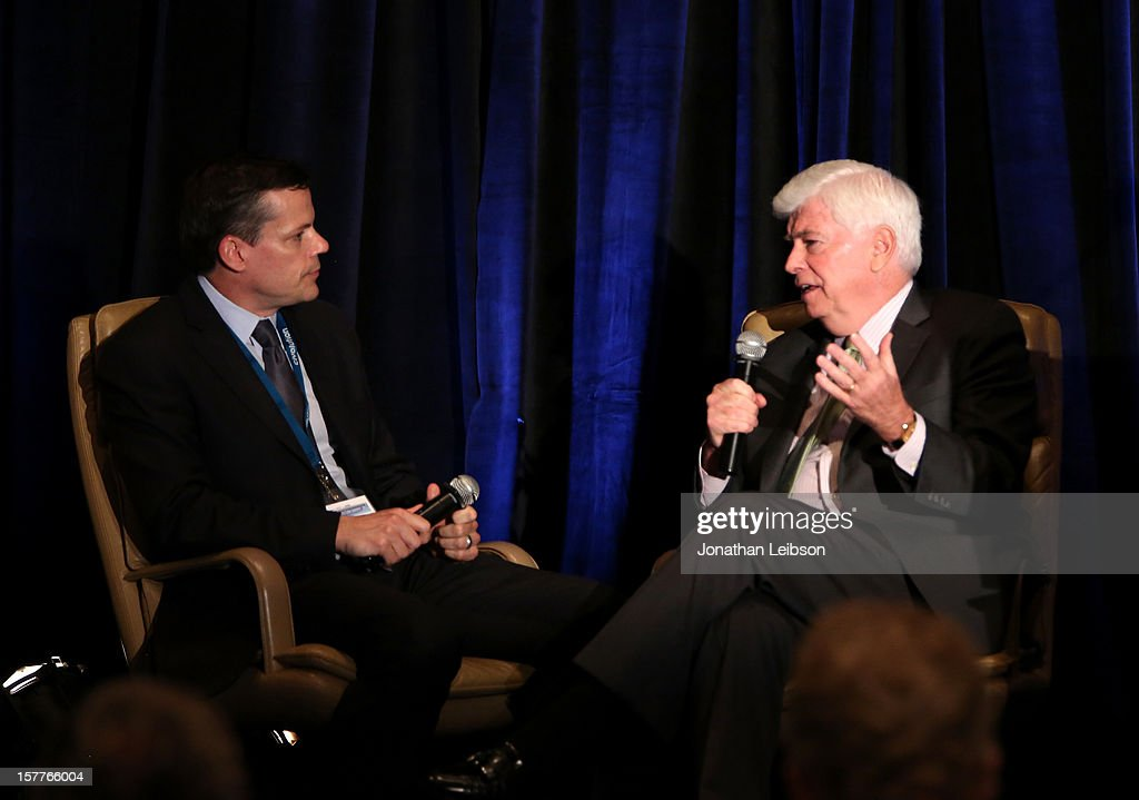 Interviewer <a gi-track='captionPersonalityLinkClicked' href=/galleries/search?phrase=Ted+Johnson&family=editorial&specificpeople=243214 ng-click='$event.stopPropagation()'>Ted Johnson</a>, Deputy Editor, Variety (L) and Senator Chris Dodd, Chairman and CEO, Motion Picture Association of America (MPAA) speak onstage during the Content Protection Summit produced by Variety and CDSA at Universal Hilton Hotel on December 6, 2012 in Universal City, California.
