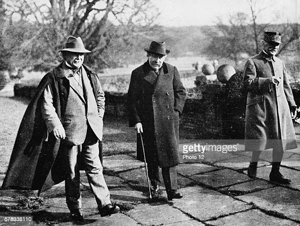 Interwar Period Aristide Briand between David Lloyd George and General Foch at Chequers Court after the Conference of London