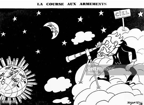 Interwar period Caricature of Aristide Briand by Roger Roy concerning the arms race during the interwar period