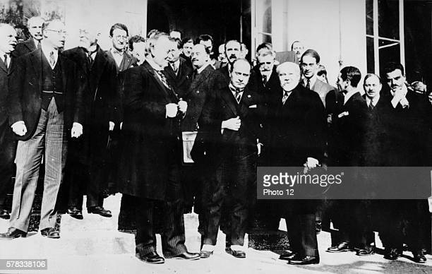 Interwar period Lord Curzon Benito Mussolini and Raymond Poincare at the Conference at OuchyLausanne