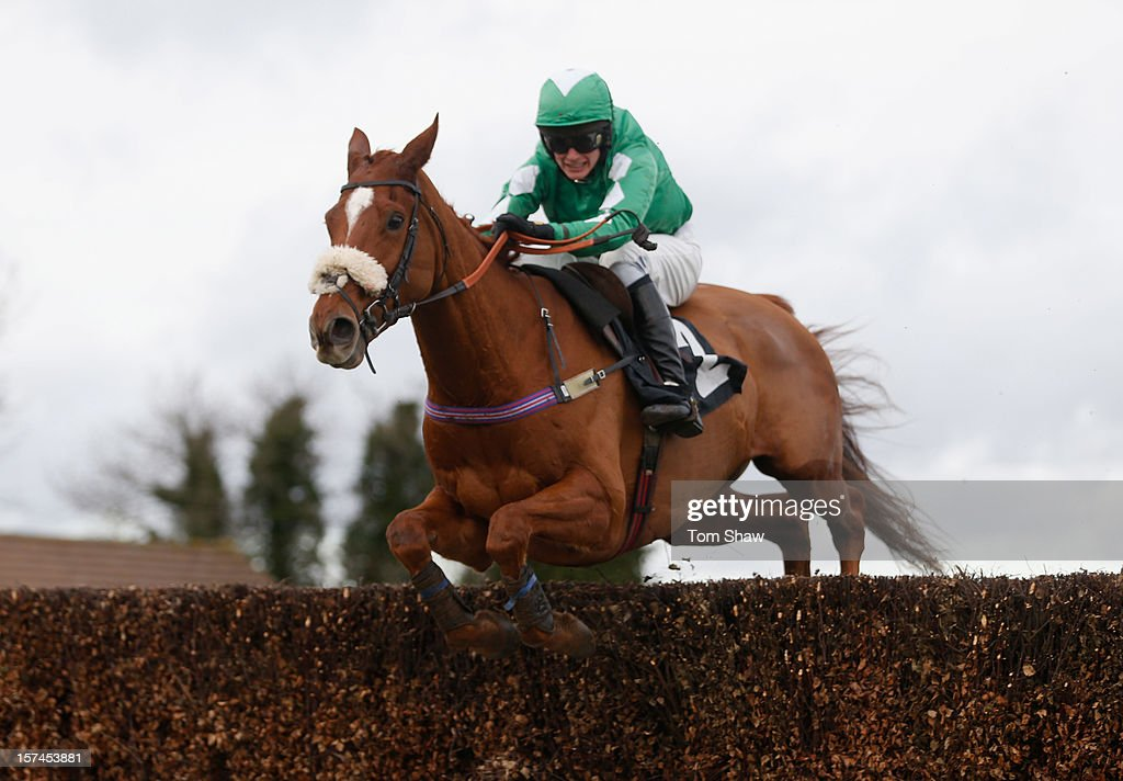 Inthejungle ridden by Tom Cannon jumps the fence to win the Yourracingsecret.co.uk Handicap Steeple Chase race at Plumpton Racecourse on December 3, 2012 in Plumpton, England.