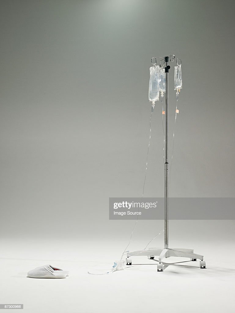 Intravenous drip and slippers