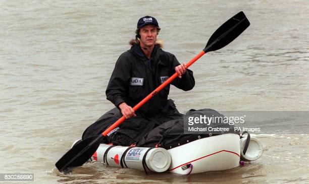 Intrepid explorer Sir Ranulph Fiennes on the River Thames at the press call to announce his next adventure of a solo and unsupported attempt at the...