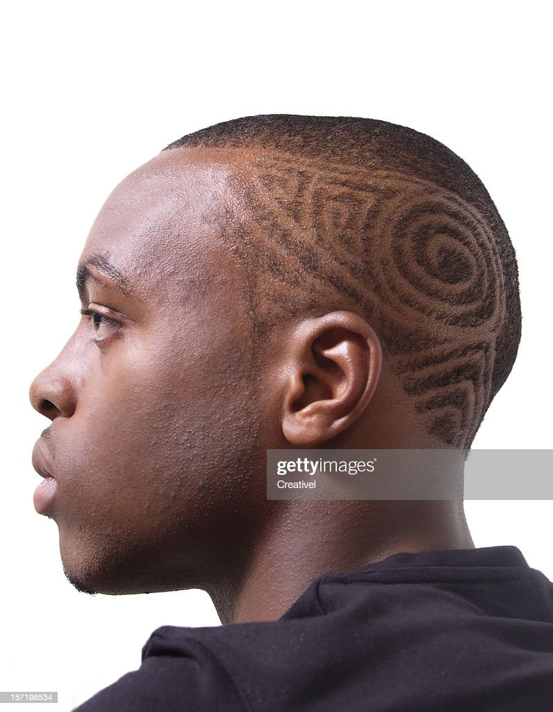 Intricate Hair style, Profile of a young man : Stock Photo