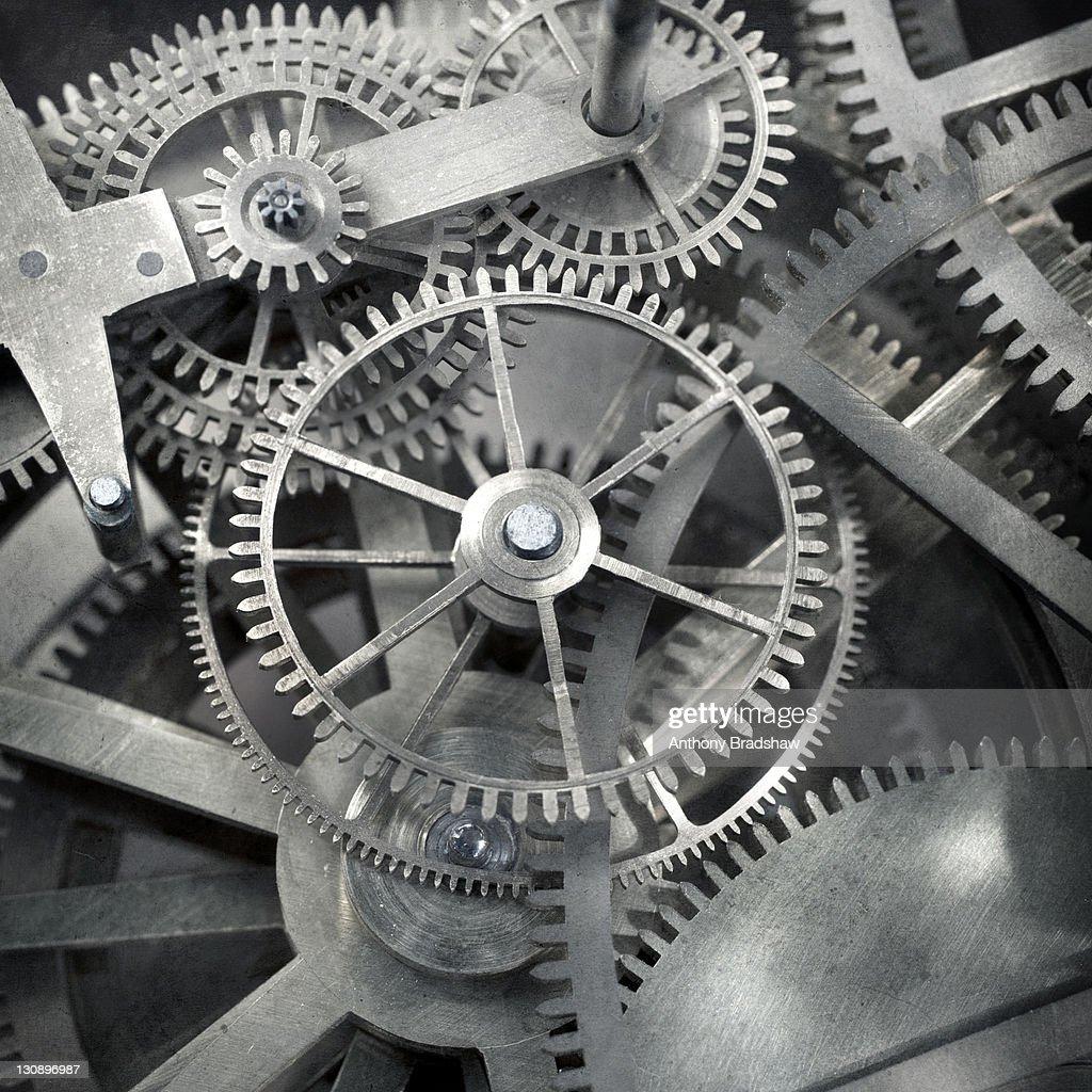 Intricate metallic mechanism.