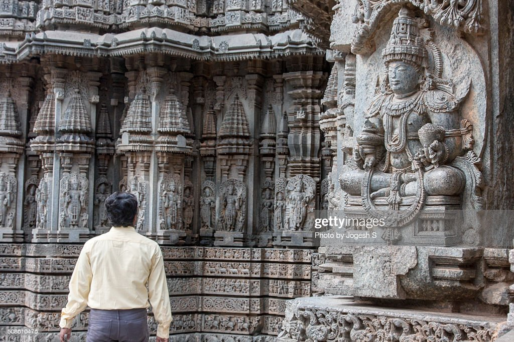 Intricate stone carvings at Somnathpura temple : Stock Photo