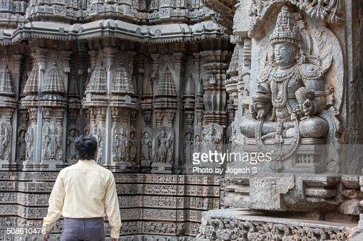 Intricate stone carvings at Somnathpura temple : Stock Photo
