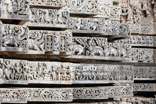Intricate stone carvings of Halebidu : Stock Photo