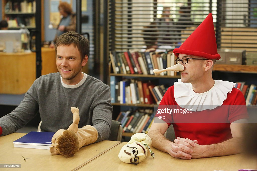 COMMUNITY -- 'Intro To Felt Surrogacy' Episode 413 -- Pictured: (l-r) <a gi-track='captionPersonalityLinkClicked' href=/galleries/search?phrase=Joel+McHale&family=editorial&specificpeople=754384 ng-click='$event.stopPropagation()'>Joel McHale</a> as Jeff Winger, <a gi-track='captionPersonalityLinkClicked' href=/galleries/search?phrase=Jim+Rash&family=editorial&specificpeople=742689 ng-click='$event.stopPropagation()'>Jim Rash</a> as Dean Pelton --