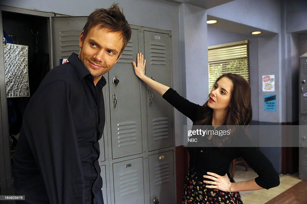 COMMUNITY -- 'Intro To Felt Surrogacy' Episode 413 -- Pictured: (l-r) <a gi-track='captionPersonalityLinkClicked' href=/galleries/search?phrase=Joel+McHale&family=editorial&specificpeople=754384 ng-click='$event.stopPropagation()'>Joel McHale</a> as Jeff Winger, <a gi-track='captionPersonalityLinkClicked' href=/galleries/search?phrase=Alison+Brie&family=editorial&specificpeople=5447578 ng-click='$event.stopPropagation()'>Alison Brie</a> as Annie --