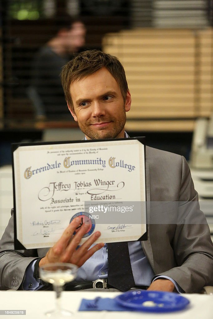 COMMUNITY -- 'Intro To Felt Surrogacy' Episode 413 -- Pictured: <a gi-track='captionPersonalityLinkClicked' href=/galleries/search?phrase=Joel+McHale&family=editorial&specificpeople=754384 ng-click='$event.stopPropagation()'>Joel McHale</a> as Jeff Winger --