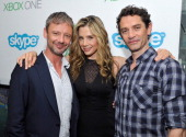 'Intruders' actors John Simm Mira Sorvino and James Frain drop by the Microsoft VIP Lounge photobooth during ComicCon on July 26 2014 in San Diego...