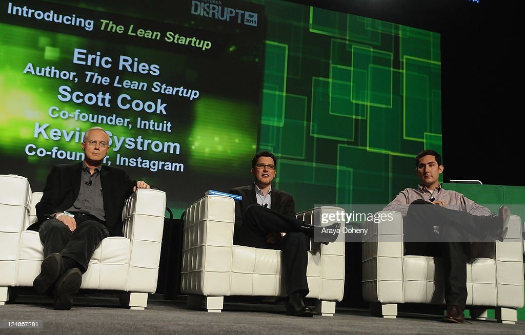 Intuit Co-Founder Scott Cook, Author of The Lean Startup Eric Ries and Instagram Co-Founder Kevin Systrom speak onstage at Day 2 of TechCrunch Disrupt SF 2011 held at the San Francisco Design Center Concourse on September 13, 2011 in San Francisco, California.