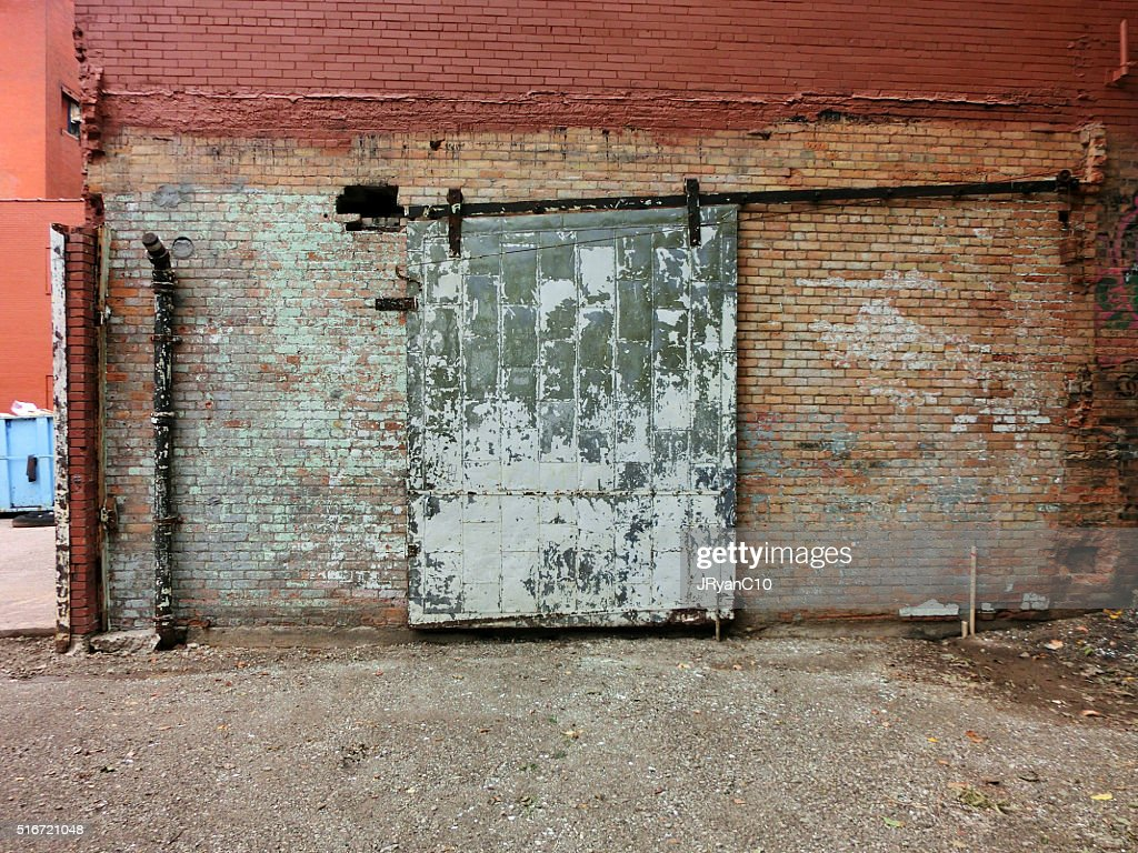 Intustrial Metal Sliding Door With Chipped Paint And Rust : Stock Photo