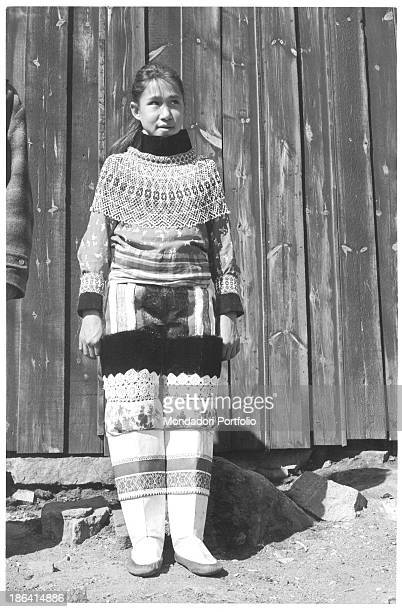 Inuit girl posing wearing traditional clothes Greenland 1962