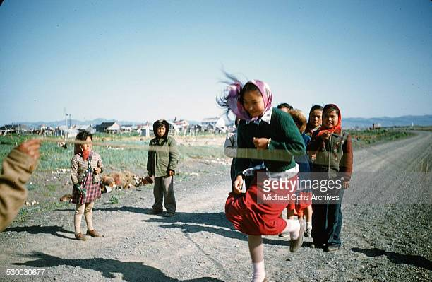 Inuit girls jump rope in Unalakeet Alaska