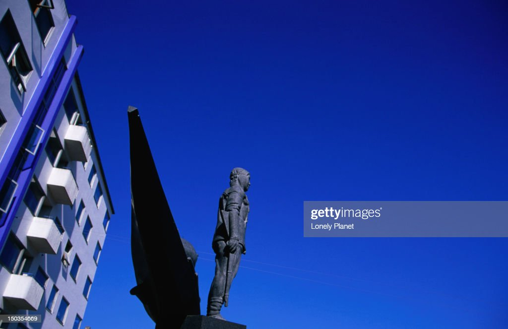 Inuit sculpture located on Christianshavn Torv. : Stock Photo