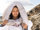 Inuit woman in traditional dress on Baffin Island