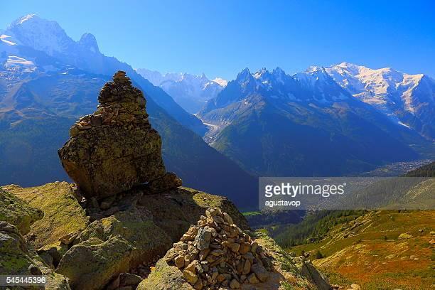 Inukshuk, Mer de Glace, Mont Blanc alpine landscape – Chamonix Alps