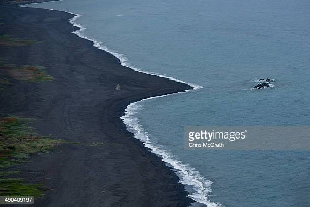 Invasion beach on Iwo Jima is seen during Field Carrier Landing Practice for the Carrier Air Wing 5 of US Naval Air Facility Atsugi on May 14 2014 in...