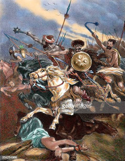 Invasion of the Iberian Peninsula by the Visigoths Sixth century Colored engraving