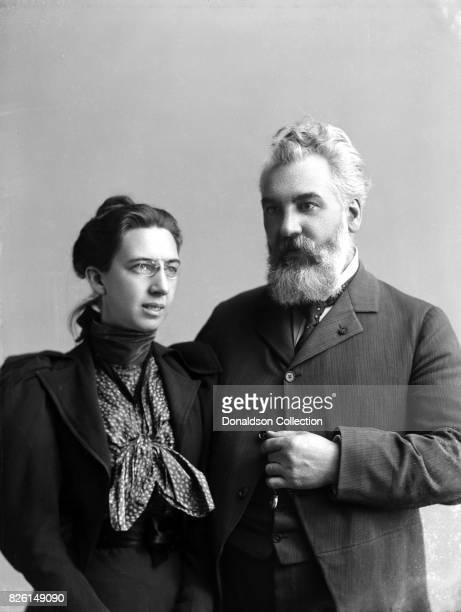 Inventor Alexander Graham Bell poses for a portrait with his wife Mabel Hubbard Gardiner Bell in 1894