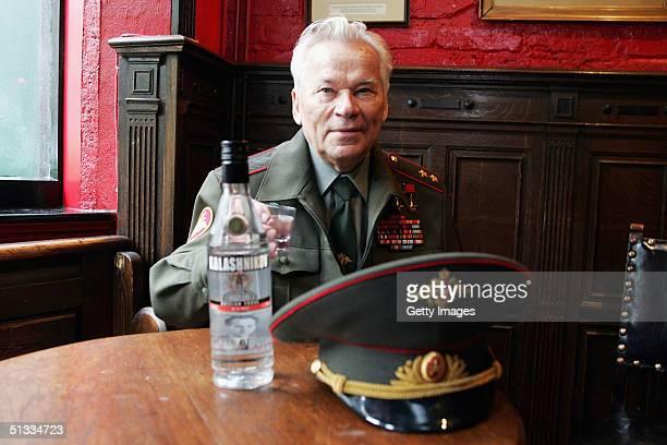 Inventor of the AK47 assault rifle General Mikhail Kalashnikov launches the new brand of Kalashnikov Vodka on September 20 2004 in London England The...