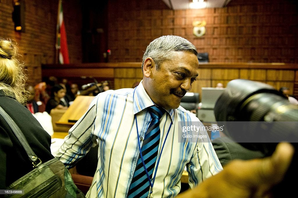 Investigating detective Vinesh Moonoo at the Pretoria Magistrates court on February 22, 2013, in Pretoria, South Africa. Oscar Pistorius is accused of the murder of Reeva Steenkamp on February 14, 2013. This marks day 4 of his bail hearing.