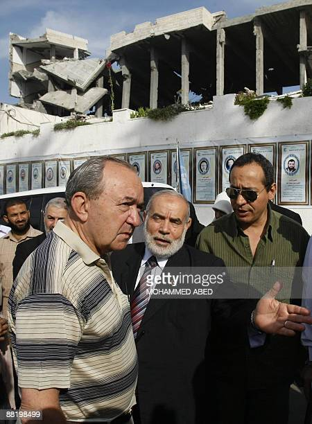UN investigator Richard Goldstone listens to Hamas deputy Ahmed Bahr as he and his delegation visit the Palestinian parliament building that was...