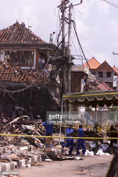Investigators remove debris from the Sari Club in Kuta Bali as efforts continued to identify the victims of the car bomb attack at the club in the...