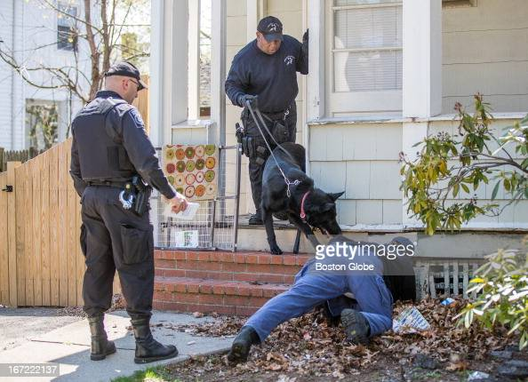 Investigators used K9 units to search for evidence along Franklin Street in Watertown near the location where Boston Marathon bombing suspect...