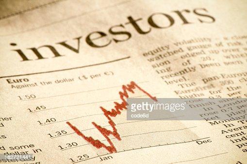 金融投資図の雑誌、ヘッドライン,ユーロ投資家アゲインストドル