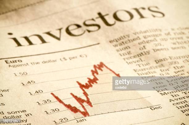 Investment diagram in financial magazine, investors headline, Euro against Dollar