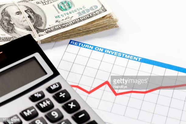 Investment prospects look good: rising graph, calculator and money