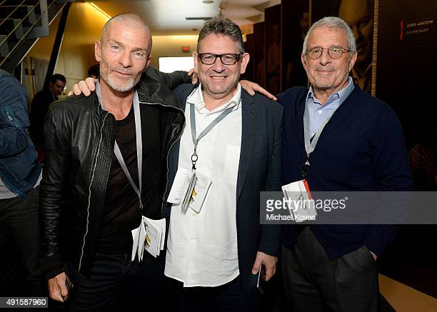 NV Investments' Aviv Nevo Universal Music Group Chairman and CEO Lucian Grainge and Ron Meyer attend the Vanity Fair New Establishment Summit at...