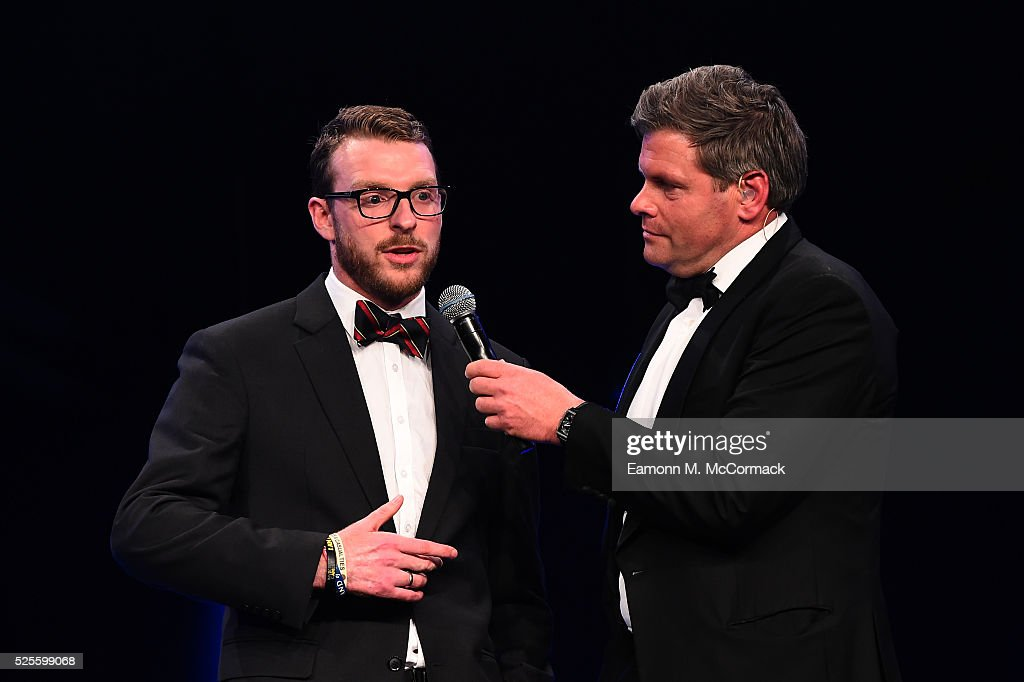 Invictus Games athlete JJ Chalmers talks to Mark Durden-Smith on stage at the BT Sport Industry Awards 2016 at Battersea Evolution on April 28, 2016 in London, England. The BT Sport Industry Awards is the most prestigious commercial sports awards ceremony in Europe, where over 1750 of the industry's key decision-makers mix with high profile sporting celebrities for the most important networking occasion in the sport business calendar.