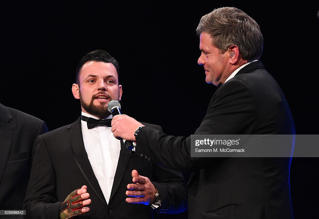 Invictus Games athlete Paul Vice talks to Mark Durden-Smith on stage at the BT Sport Industry Awards 2016 at Battersea Evolution on April 28, 2016 in London, England. The BT Sport Industry Awards is the most prestigious commercial sports awards ceremony in Europe, where over 1750 of the industry's key decision-makers mix with high profile sporting celebrities for the most important networking occasion in the sport business calendar.