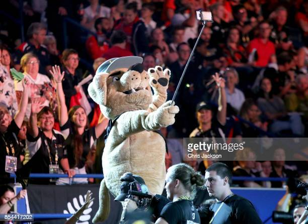 Invictus Games Mascot Vimy takes a selfie during the Invictus Games 2017 at Mattamy Athletics Center on September 26 2017 in Toronto Canada