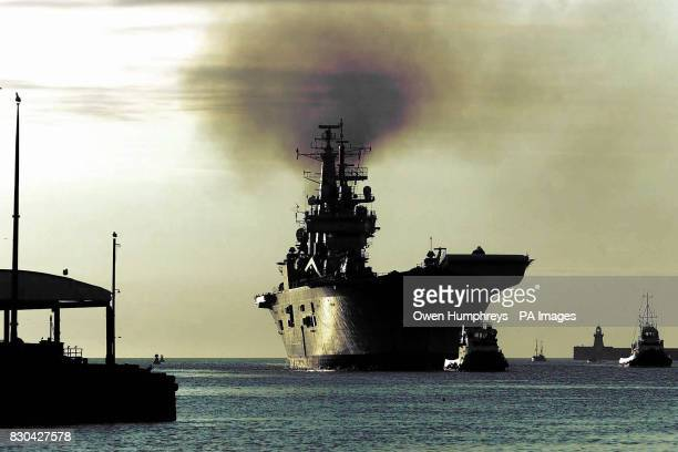 HMS Invincible arrives on the River Tyne at the Tynemouth priory near Newcastle during a visit to the North East 07/02/03 The Royal Navy s aircraft...