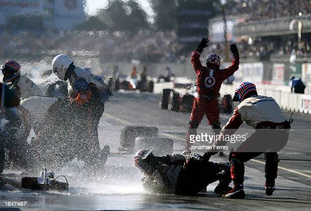 Invisible methanol fire erupts in the Mo Nunn Racing pit the Gran Premio GiganteTelmex round 19 of the CART Fed Ex Championship Series on November 17...