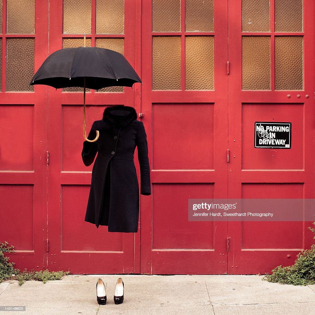 Invisible Woman with umbrella