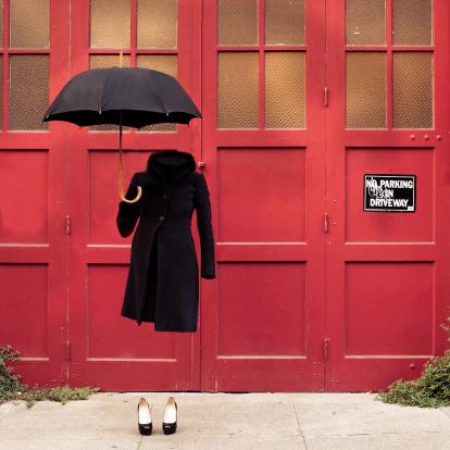 Invisible Woman with umbrella