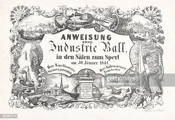 Invitation card for the Industry Prom in the Sperlhalls in Vienna January 1844 Lithograph [Einladungskarte zum 'Industrie Ball' in den SperlSlen in...