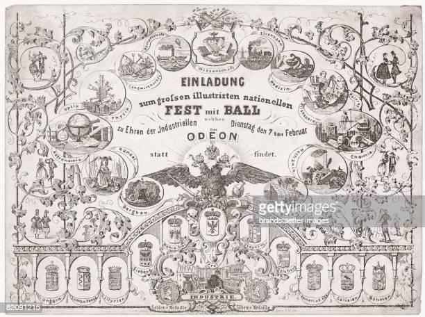 Invitation card to a celebration in the honor of the industrialists in the Viennese Odeon sterreich Lithograph Around 1845 [Einladungskarte zu einem...