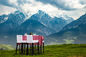 Table in the Alps, ready for Dinner