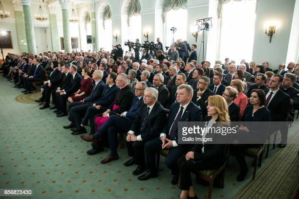 Invited guests attend in the President of Polands signing of new entries to the list of historical monuments on March 15 2017 in Warsaw Poland During...